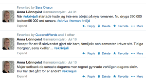 Några #skrivjuli-tweets