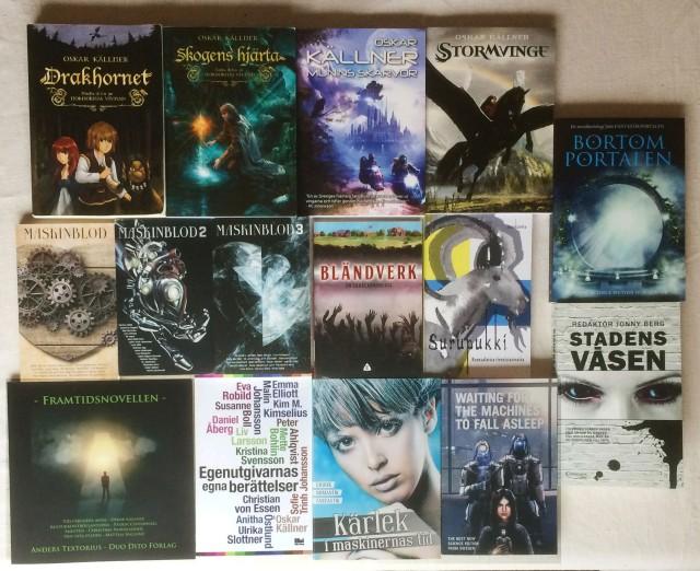 Fem års utgivning. Mina egna böcker samt alla antologier jag deltagit i.