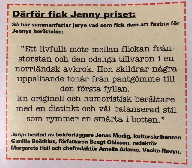 motivering_Jenny_Gromark_Veckorevyn_1993