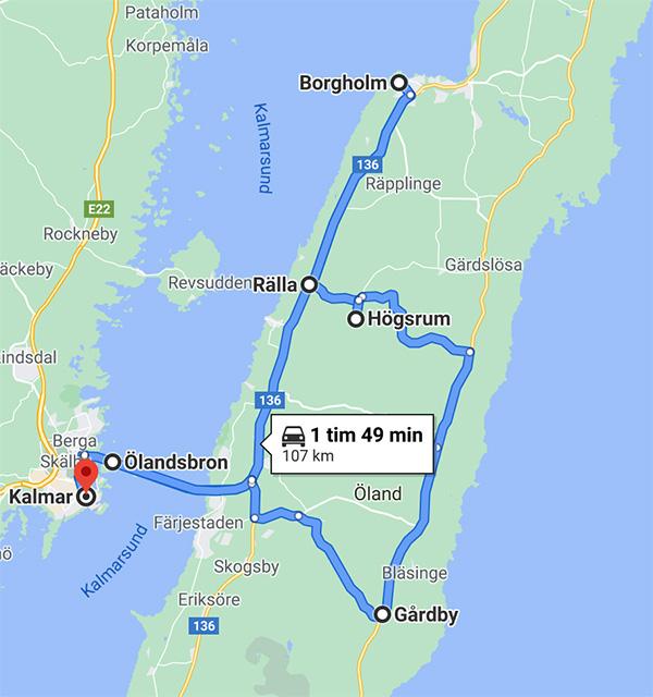 Karta över Öland och Gårdby