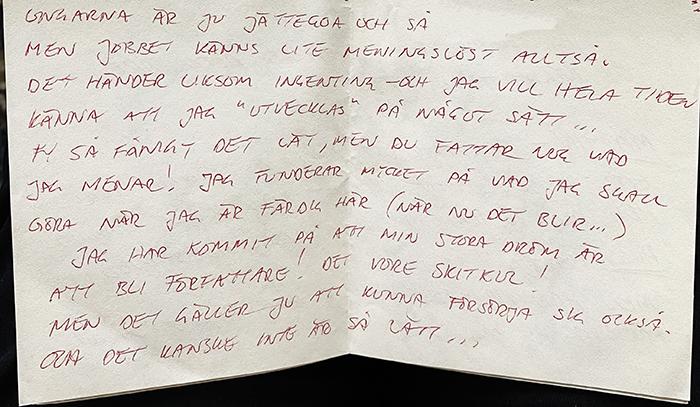 Caroline Möllesand brev från Schweiz